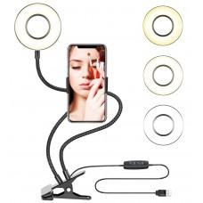Selfie Ring Light with Cell Phone Holder Stand for Live Stream / Makeup, 3-Light Mode10-Level Brightness LED Desk Lamp