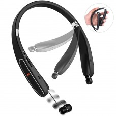 Sweatproof Bluetooth Headphones with Retractable Earbuds, 20 hours playtime Wireless Foldable Neckband Earphone with Mic