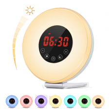 Kids Alarm Clock, Sunrise Alarm Clock Wake Up Light Bedside Lamp with Sunrise Sunset Simulation, 6 Nature Sounds, FM Radio, 10 Brightness, 7 Colors, Snooze Function